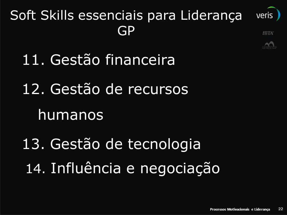 Processos Motivacionais e Liderança 22 Soft Skills essenciais para Liderança GP 11. Gestão financeira 12. Gestão de recursos humanos 13. Gestão de tec