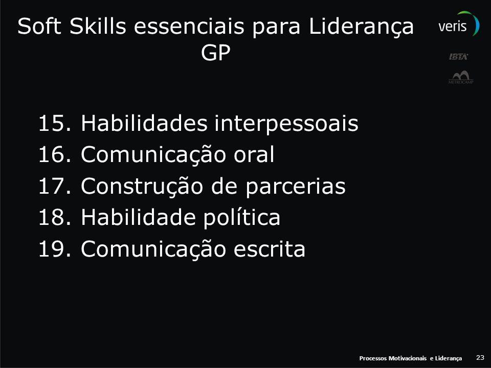 Processos Motivacionais e Liderança 23 Soft Skills essenciais para Liderança GP 15. Habilidades interpessoais 16. Comunicação oral 17. Construção de p
