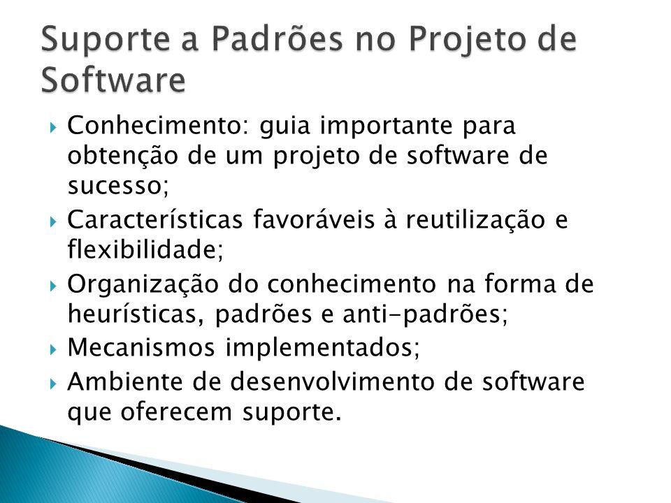 Conhecimento: guia importante para obtenção de um projeto de software de sucesso; Características favoráveis à reutilização e flexibilidade; Organização do conhecimento na forma de heurísticas, padrões e anti-padrões; Mecanismos implementados; Ambiente de desenvolvimento de software que oferecem suporte.