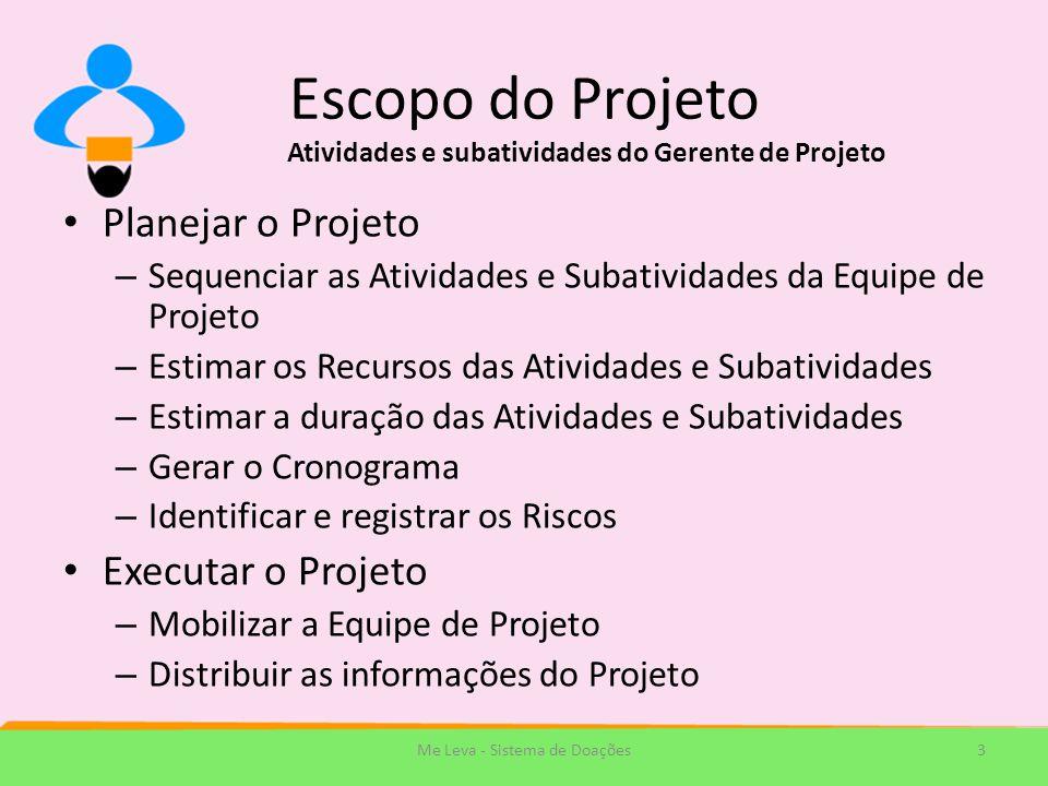 Escopo do Projeto Planejar o Projeto – Sequenciar as Atividades e Subatividades da Equipe de Projeto – Estimar os Recursos das Atividades e Subativida