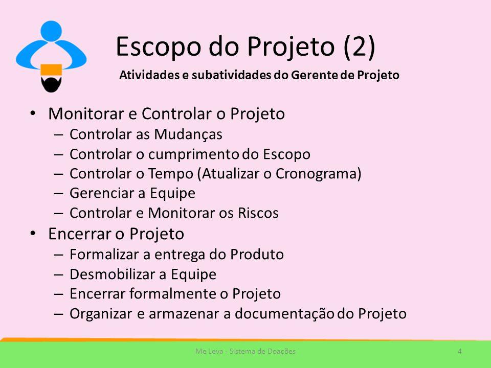 Escopo do Projeto (2) Monitorar e Controlar o Projeto – Controlar as Mudanças – Controlar o cumprimento do Escopo – Controlar o Tempo (Atualizar o Cro
