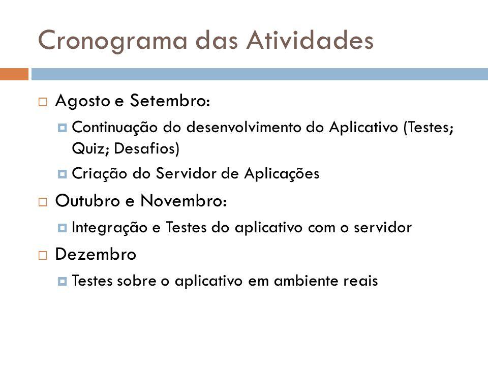 Cronograma das Atividades Agosto e Setembro: Continuação do desenvolvimento do Aplicativo (Testes; Quiz; Desafios) Criação do Servidor de Aplicações O