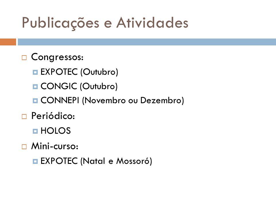 Publicações e Atividades Congressos: EXPOTEC (Outubro) CONGIC (Outubro) CONNEPI (Novembro ou Dezembro) Periódico: HOLOS Mini-curso: EXPOTEC (Natal e M