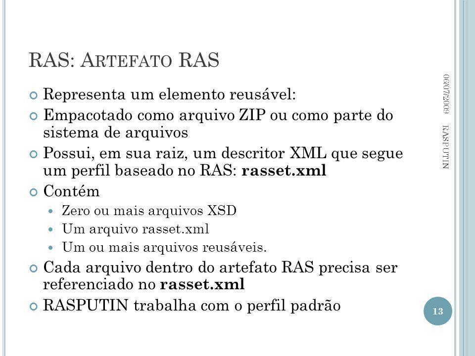 RAS: A RTEFATO RAS Representa um elemento reusável: Empacotado como arquivo ZIP ou como parte do sistema de arquivos Possui, em sua raiz, um descritor XML que segue um perfil baseado no RAS: rasset.xml Contém Zero ou mais arquivos XSD Um arquivo rasset.xml Um ou mais arquivos reusáveis.