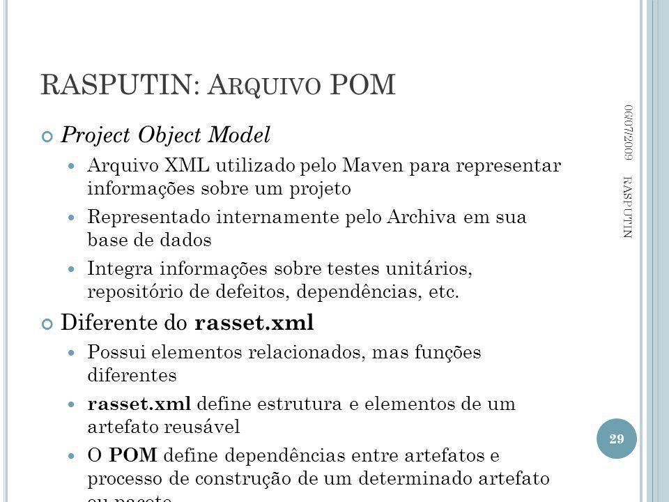 RASPUTIN: A RQUIVO POM Project Object Model Arquivo XML utilizado pelo Maven para representar informações sobre um projeto Representado internamente pelo Archiva em sua base de dados Integra informações sobre testes unitários, repositório de defeitos, dependências, etc.