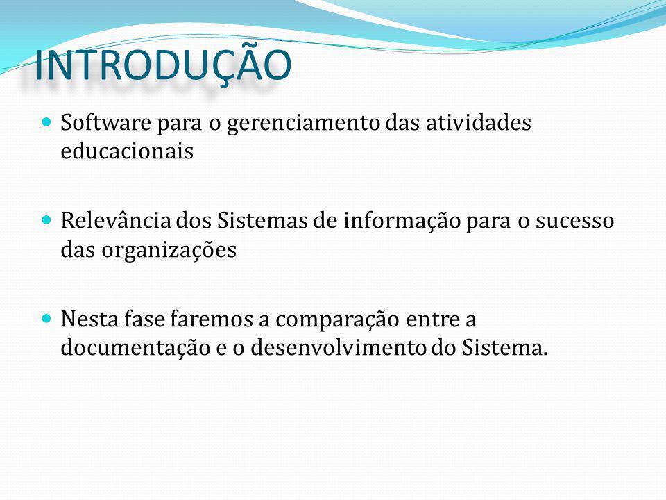 INTRODUÇÃO Software para o gerenciamento das atividades educacionais Relevância dos Sistemas de informação para o sucesso das organizações Nesta fase