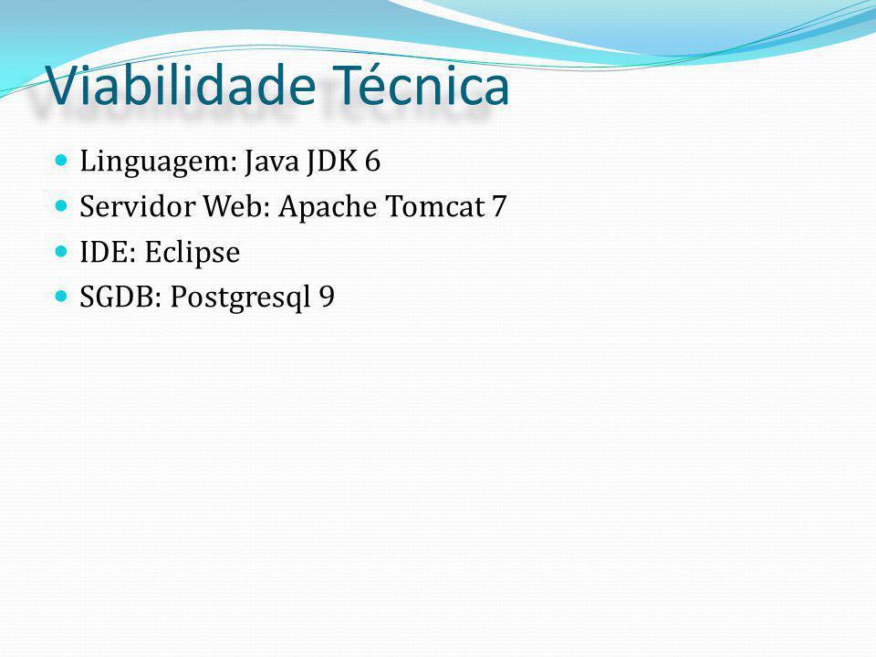 Viabilidade Técnica Linguagem: Java JDK 6 Servidor Web: Apache Tomcat 7 IDE: Eclipse SGDB: Postgresql 9