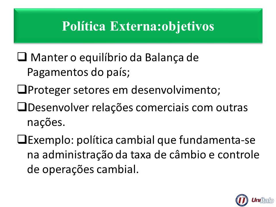 Política Externa:objetivos Manter o equilíbrio da Balança de Pagamentos do país; Proteger setores em desenvolvimento; Desenvolver relações comerciais