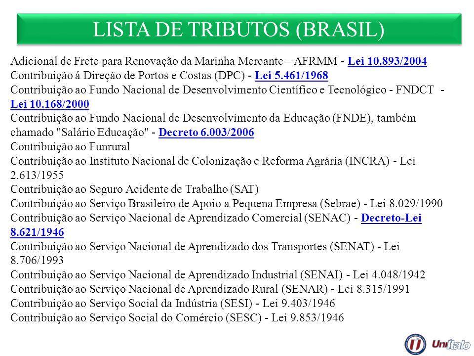 LISTA DE TRIBUTOS (BRASIL) Adicional de Frete para Renovação da Marinha Mercante – AFRMM - Lei 10.893/2004Lei 10.893/2004 Contribuição á Direção de Po