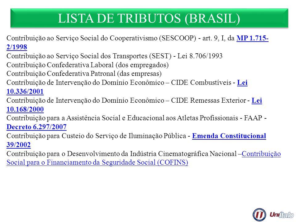 LISTA DE TRIBUTOS (BRASIL) Contribuição ao Serviço Social do Cooperativismo (SESCOOP) - art. 9, I, da MP 1.715- 2/1998MP 1.715- 2/1998 Contribuição ao