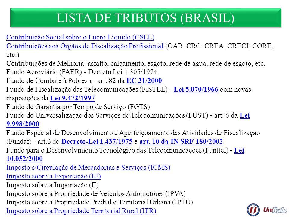 LISTA DE TRIBUTOS (BRASIL) Contribuição Social sobre o Lucro Líquido (CSLL) Contribuições aos Órgãos de Fiscalização ProfissionalContribuições aos Órg
