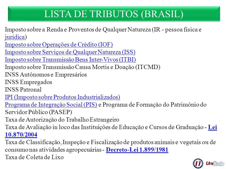 LISTA DE TRIBUTOS (BRASIL) Imposto sobre a Renda e Proventos de Qualquer Natureza (IR - pessoa física e jurídica) jurídica Imposto sobre Operações de