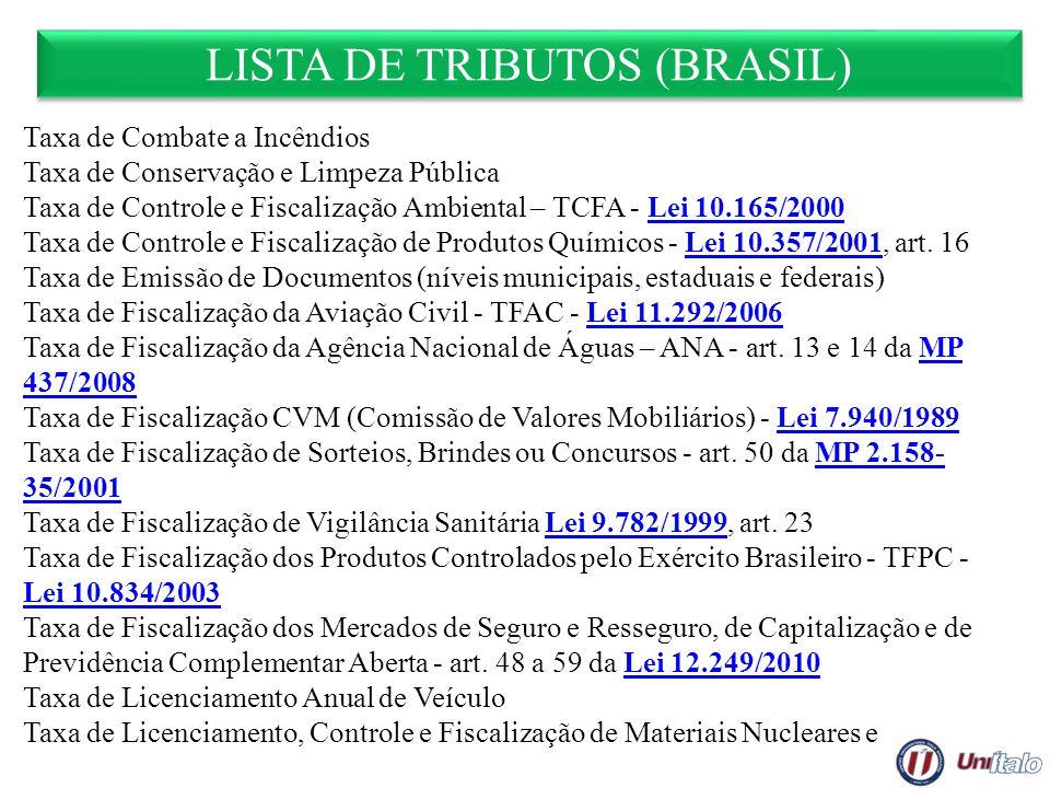 LISTA DE TRIBUTOS (BRASIL) Taxa de Combate a Incêndios Taxa de Conservação e Limpeza Pública Taxa de Controle e Fiscalização Ambiental – TCFA - Lei 10