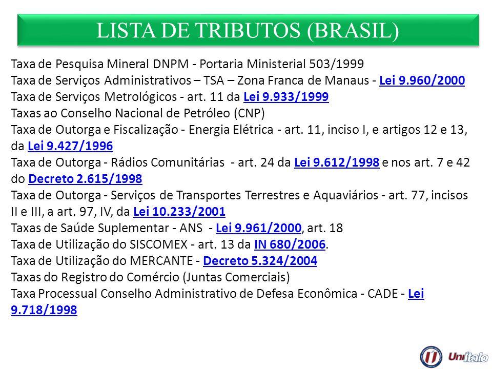 LISTA DE TRIBUTOS (BRASIL) Taxa de Pesquisa Mineral DNPM - Portaria Ministerial 503/1999 Taxa de Serviços Administrativos – TSA – Zona Franca de Manau