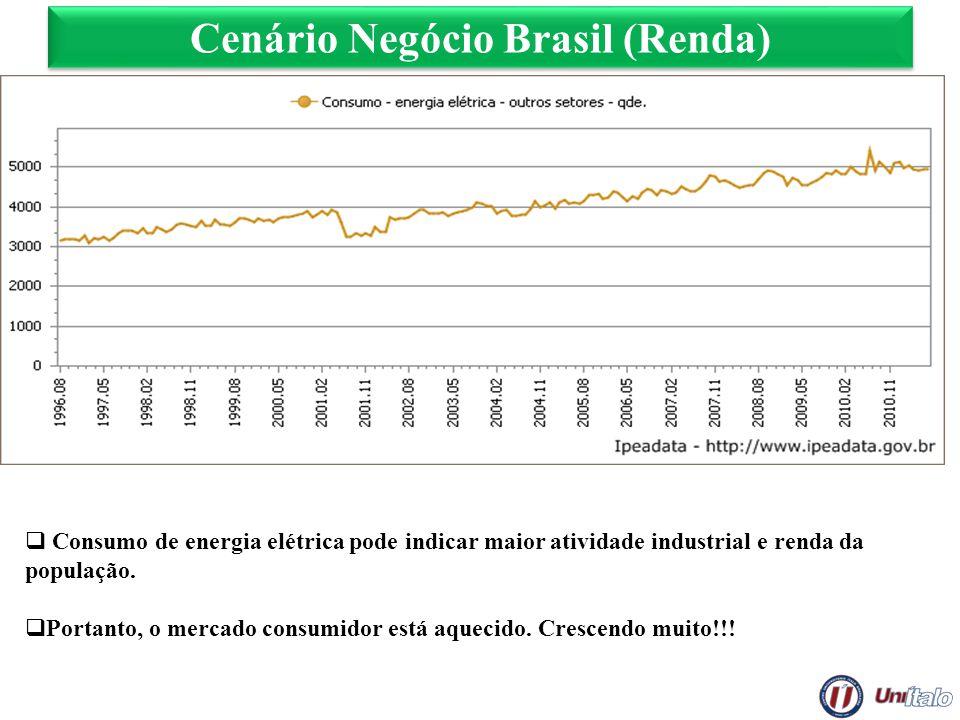 Cenário Negócio Brasil (Renda) Consumo de energia elétrica pode indicar maior atividade industrial e renda da população. Portanto, o mercado consumido