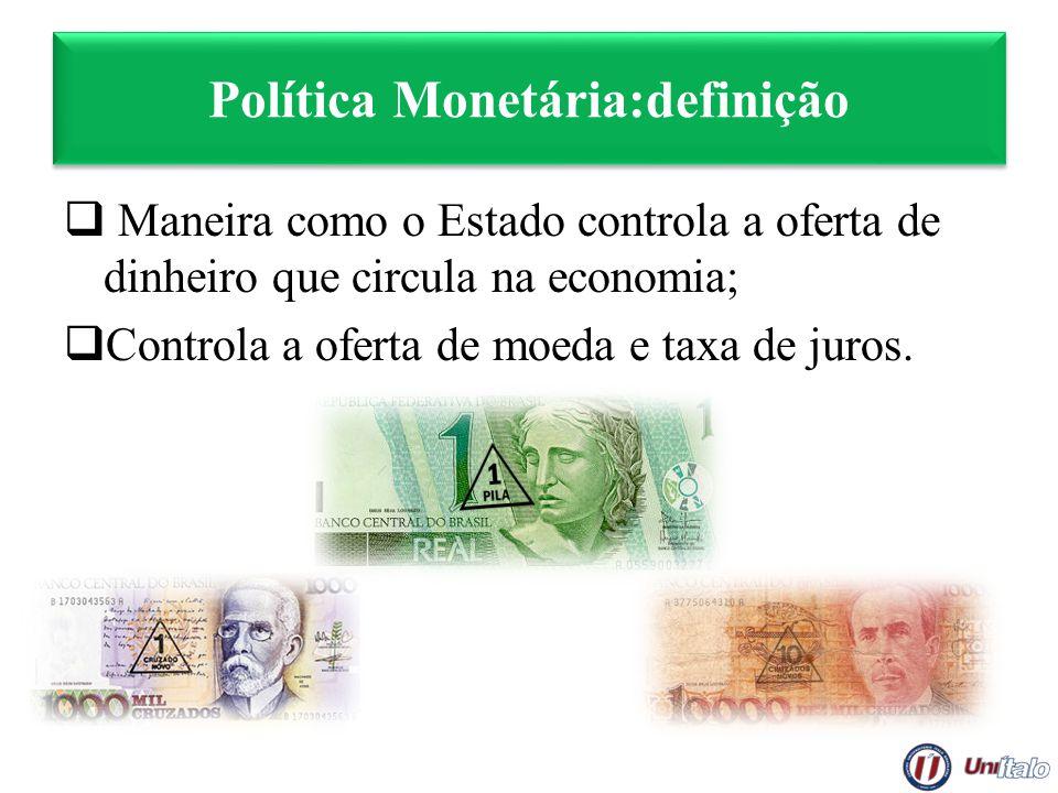Política Monetária:definição Maneira como o Estado controla a oferta de dinheiro que circula na economia; Controla a oferta de moeda e taxa de juros.