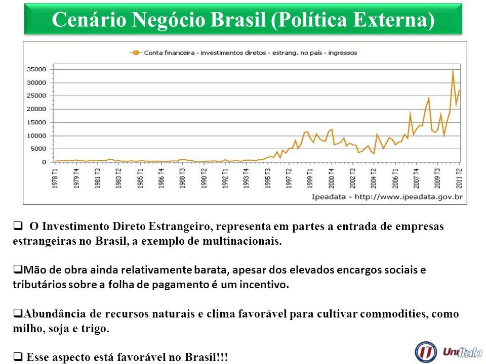 Cenário Negócio Brasil (Política Externa) O Investimento Direto Estrangeiro, representa em partes a entrada de empresas estrangeiras no Brasil, a exem