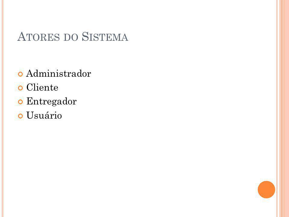 A TORES DO S ISTEMA Administrador Cliente Entregador Usuário