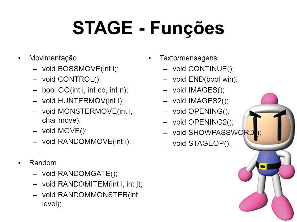 STAGE - Funções Movimentação –void BOSSMOVE(int i); –void CONTROL(); –bool GO(int i, int co, int n); –void HUNTERMOV(int i); –void MONSTERMOVE(int i,