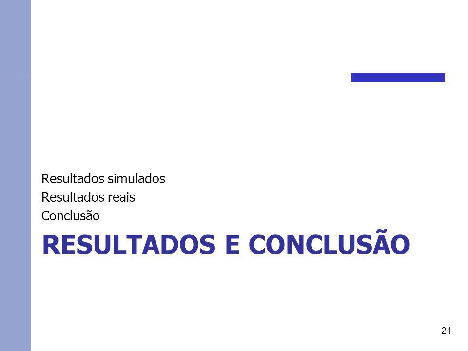 RESULTADOS E CONCLUSÃO Resultados simulados Resultados reais Conclusão 21