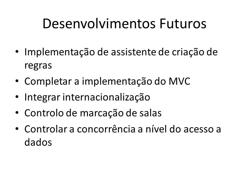 Desenvolvimentos Futuros Implementação de assistente de criação de regras Completar a implementação do MVC Integrar internacionalização Controlo de ma