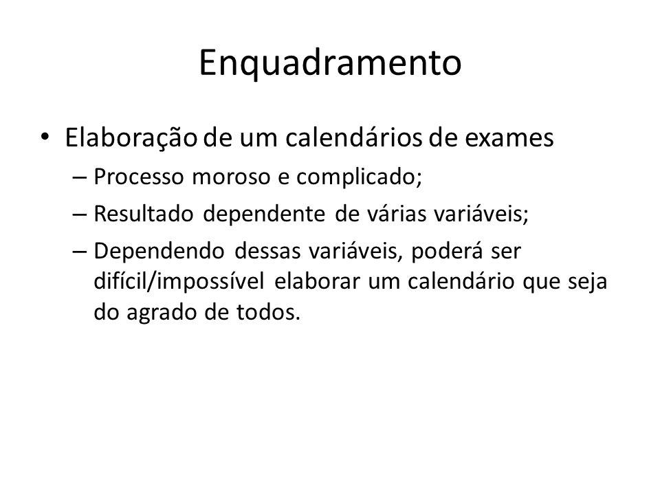 Enquadramento Elaboração de um calendários de exames – Processo moroso e complicado; – Resultado dependente de várias variáveis; – Dependendo dessas v