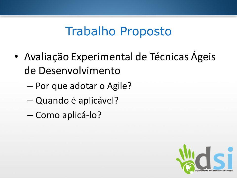Trabalho Proposto Avaliação Experimental de Técnicas Ágeis de Desenvolvimento – Por que adotar o Agile? – Quando é aplicável? – Como aplicá-lo?