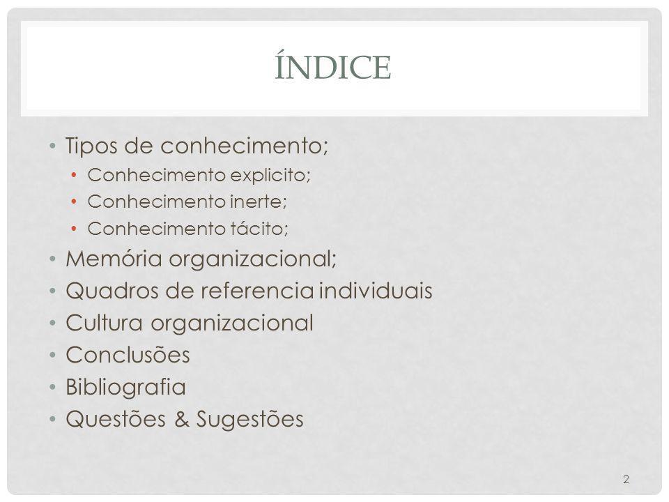 ÍNDICE Tipos de conhecimento; Conhecimento explicito; Conhecimento inerte; Conhecimento tácito; Memória organizacional; Quadros de referencia individu