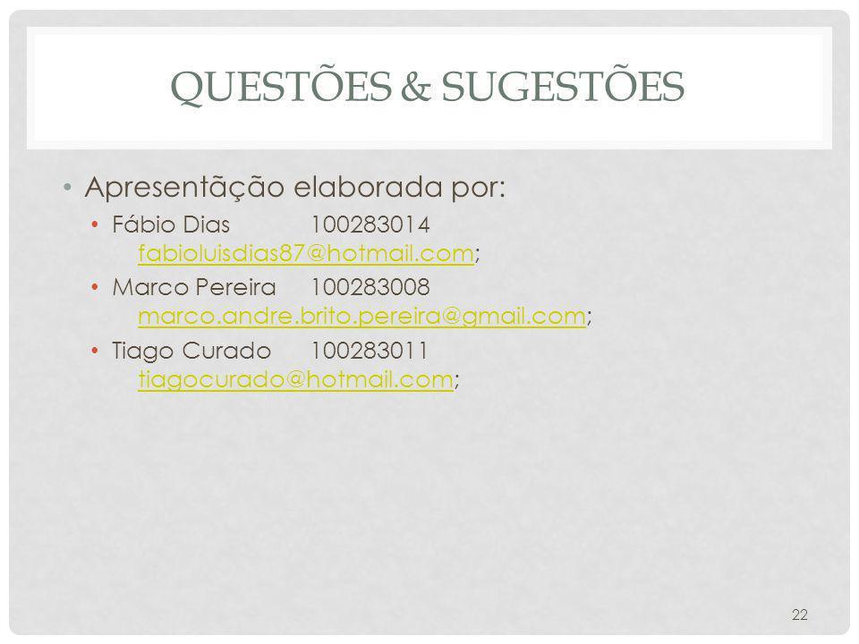 QUESTÕES & SUGESTÕES Apresentãção elaborada por: Fábio Dias100283014 fabioluisdias87@hotmail.com; fabioluisdias87@hotmail.com Marco Pereira100283008 m