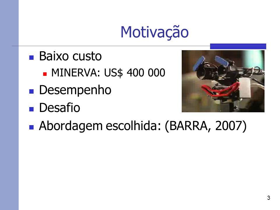 Motivação Baixo custo MINERVA: US$ 400 000 Desempenho Desafio Abordagem escolhida: (BARRA, 2007) 3