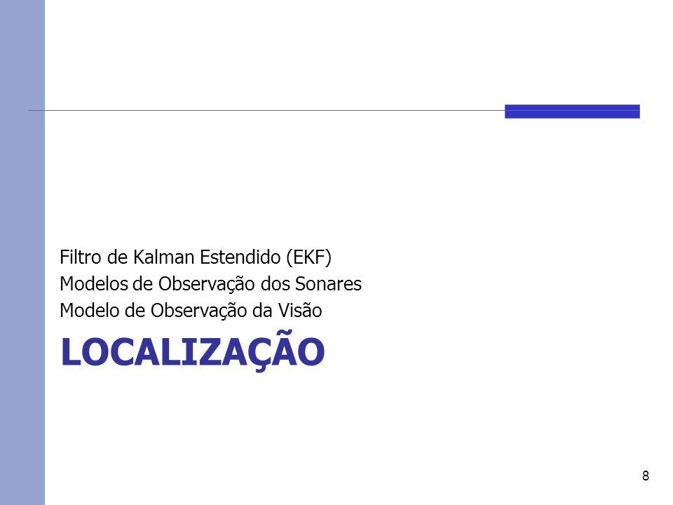 LOCALIZAÇÃO Filtro de Kalman Estendido (EKF) Modelos de Observação dos Sonares Modelo de Observação da Visão 8