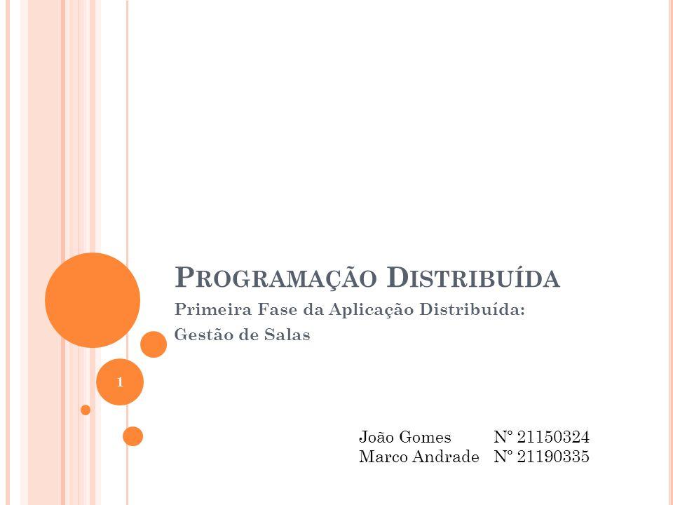 P ROGRAMAÇÃO D ISTRIBUÍDA Primeira Fase da Aplicação Distribuída: Gestão de Salas João Gomes Nº 21150324 Marco AndradeNº 21190335 1