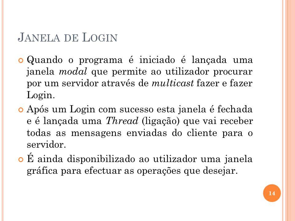 J ANELA DE L OGIN Quando o programa é iniciado é lançada uma janela modal que permite ao utilizador procurar por um servidor através de multicast fazer e fazer Login.