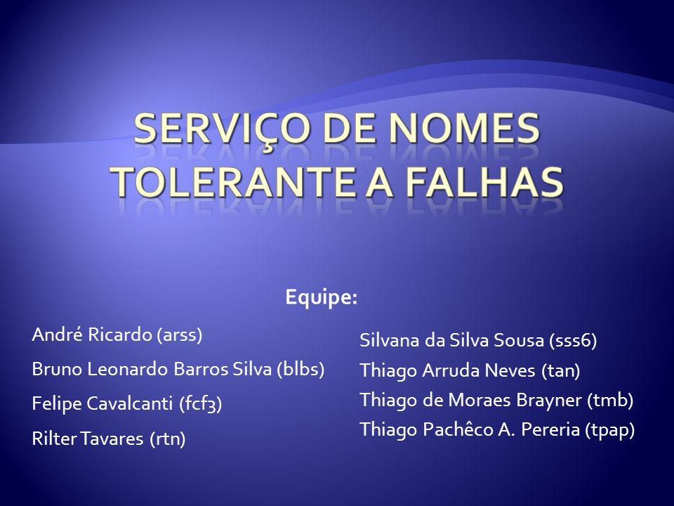 André Ricardo (arss) Bruno Leonardo Barros Silva (blbs) Felipe Cavalcanti (fcf3) Rilter Tavares (rtn) Silvana da Silva Sousa (sss6) Thiago Arruda Neve