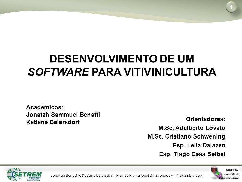Jonatah Benatti e Katiane Beiersdorf - Prática Profissional Direcionada V - Novembro 2011 1 Orientadores: M.Sc.
