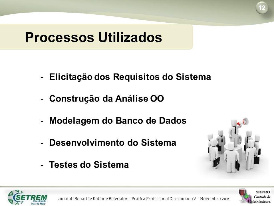 Jonatah Benatti e Katiane Beiersdorf - Prática Profissional Direcionada V - Novembro 2011 12 Processos Utilizados -Elicitação dos Requisitos do Sistema -Construção da Análise OO -Modelagem do Banco de Dados -Desenvolvimento do Sistema -Testes do Sistema
