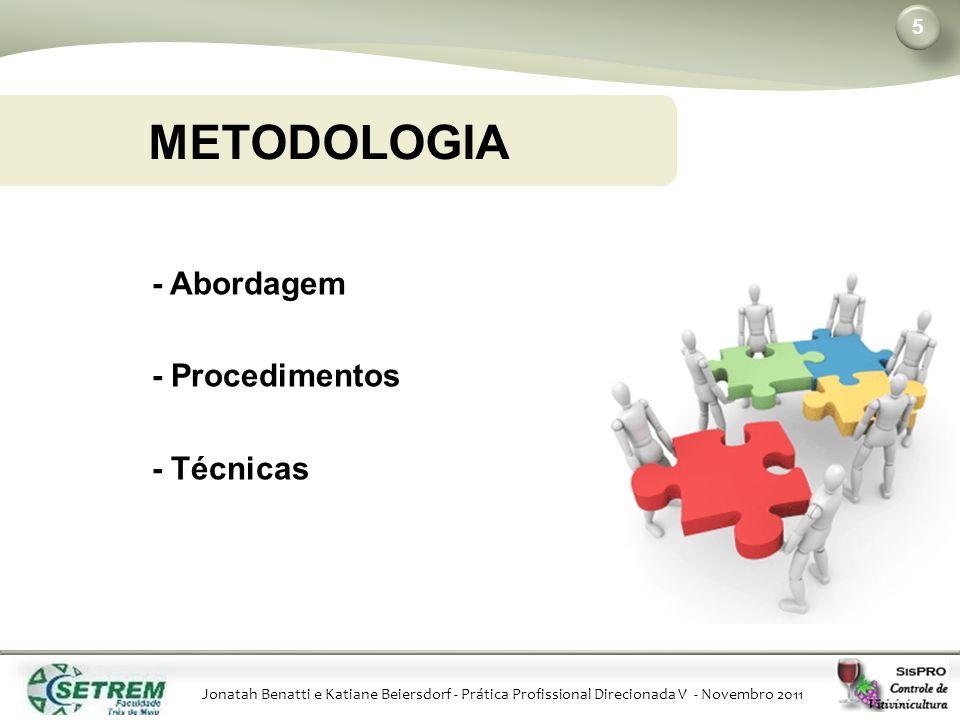 Jonatah Benatti e Katiane Beiersdorf - Prática Profissional Direcionada V - Novembro 2011 METODOLOGIA 5 - Abordagem - Procedimentos - Técnicas