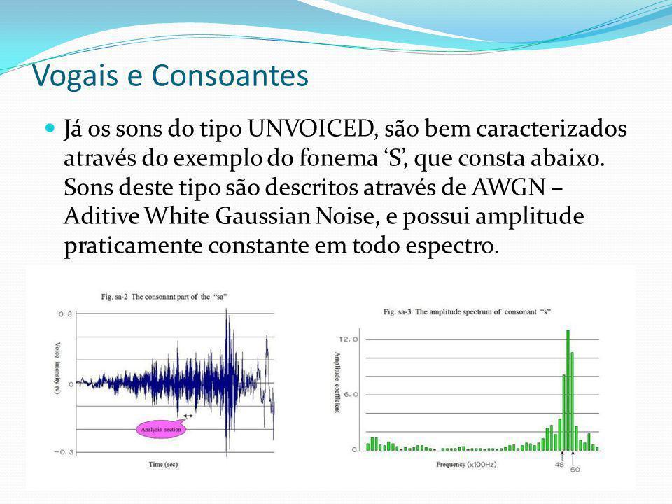 Vogais e Consoantes Já os sons do tipo UNVOICED, são bem caracterizados através do exemplo do fonema S, que consta abaixo. Sons deste tipo são descrit