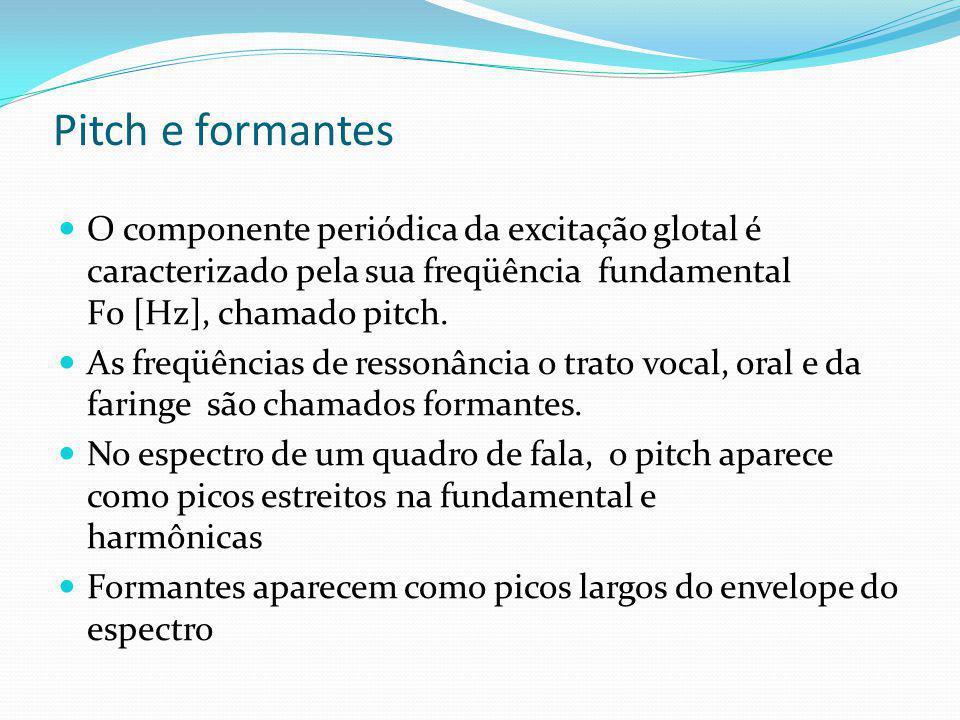 Pitch e formantes O componente periódica da excitação glotal é caracterizado pela sua freqüência fundamental F0 [Hz], chamado pitch. As freqüências de