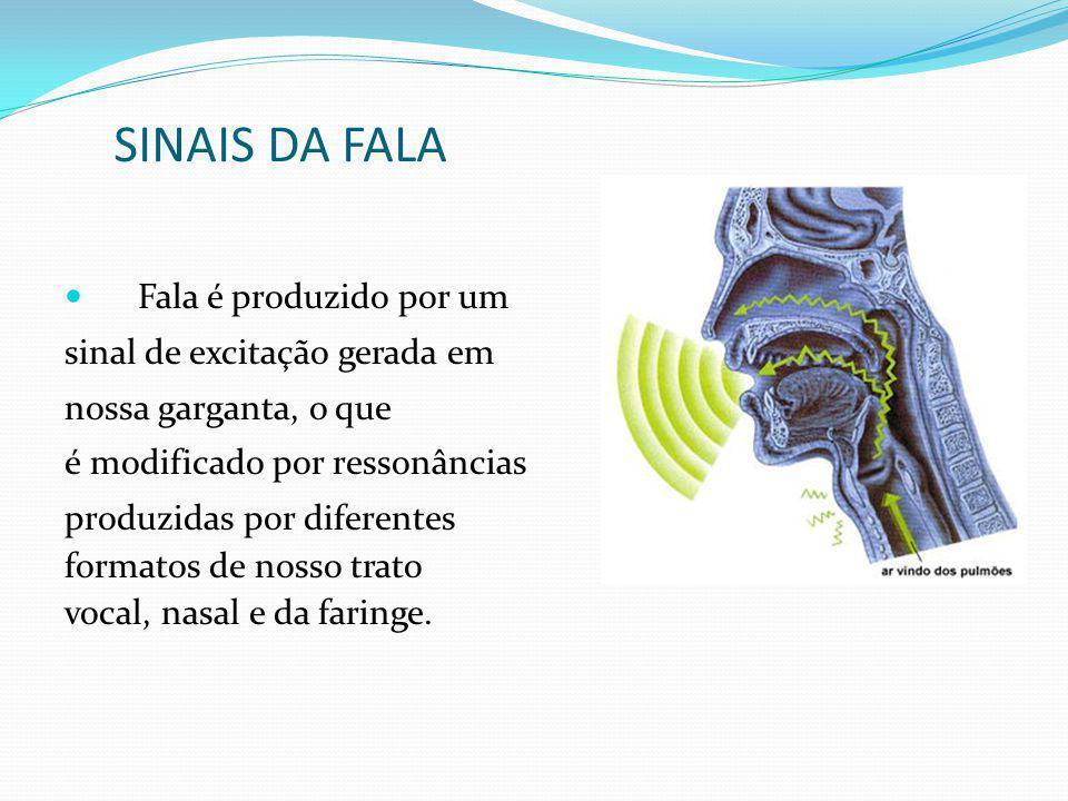 SINAIS DA FALA Fala é produzido por um sinal de excitação gerada em nossa garganta, o que é modificado por ressonâncias produzidas por diferentes form