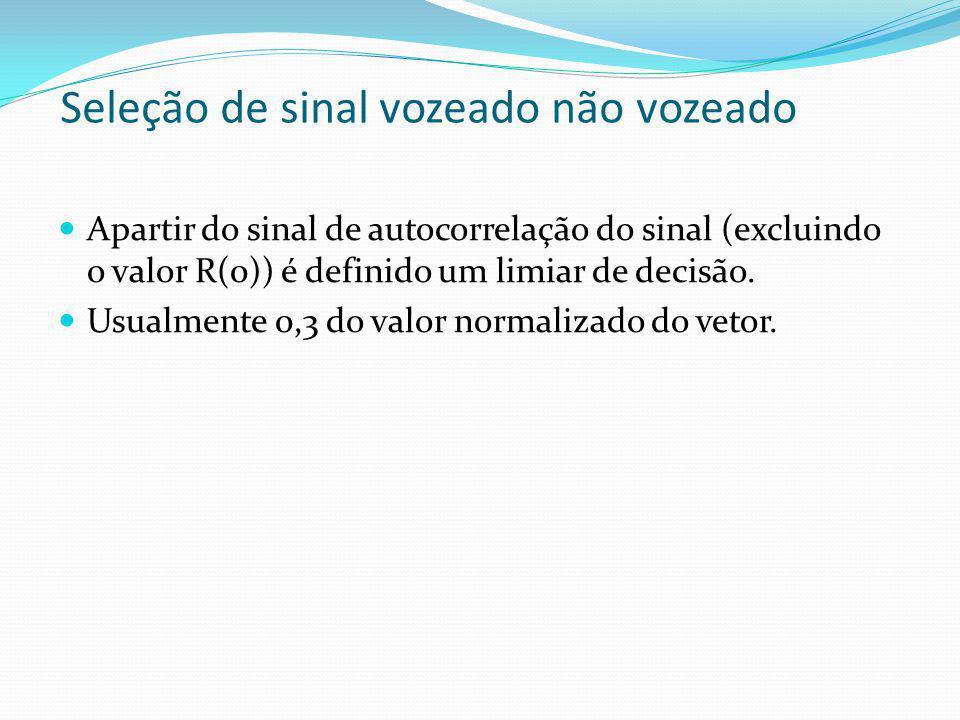 Seleção de sinal vozeado não vozeado Apartir do sinal de autocorrelação do sinal (excluindo o valor R(0)) é definido um limiar de decisão. Usualmente