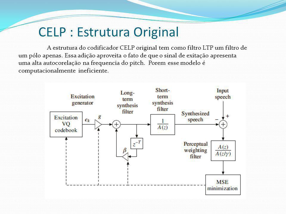 CELP : Estrutura Original A estrutura do codificador CELP original tem como filtro LTP um filtro de um pólo apenas. Essa adição aproveita o fato de qu