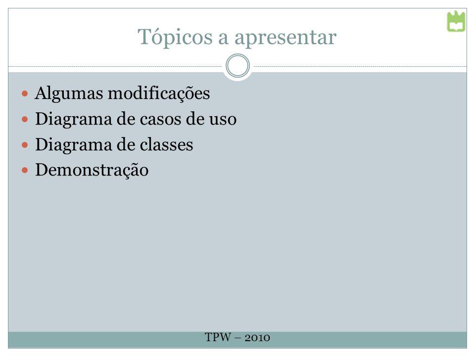 Tópicos a apresentar Algumas modificações Diagrama de casos de uso Diagrama de classes Demonstração TPW – 2010