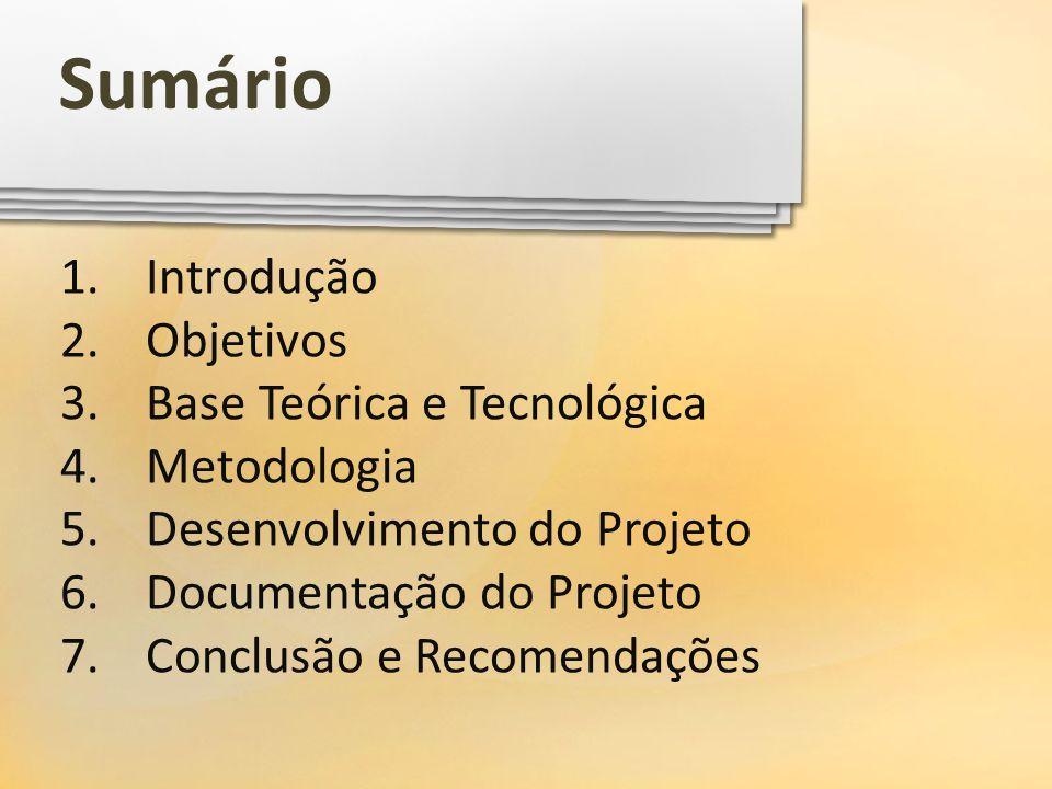 1.Introdução 2.Objetivos 3.Base Teórica e Tecnológica 4.Metodologia 5.Desenvolvimento do Projeto 6.Documentação do Projeto 7.Conclusão e Recomendações
