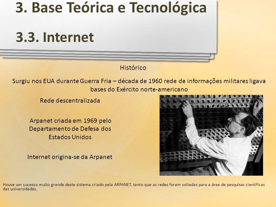 3.3. Internet Surgiu nos EUA durante Guerra Fria – década de 1960 rede de informações militares ligava bases do Exército norte-americano Histórico Hou