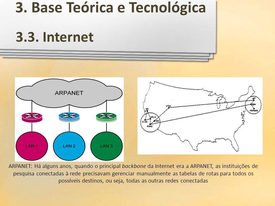 ARPANET: Há alguns anos, quando o principal backbone da Internet era a ARPANET, as instituições de pesquisa conectadas à rede precisavam gerenciar man