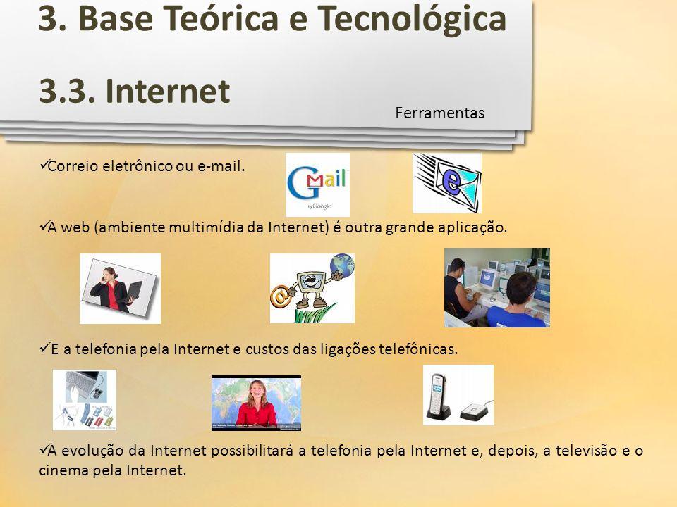 Correio eletrônico ou e-mail. A web (ambiente multimídia da Internet) é outra grande aplicação. E a telefonia pela Internet e custos das ligações tele
