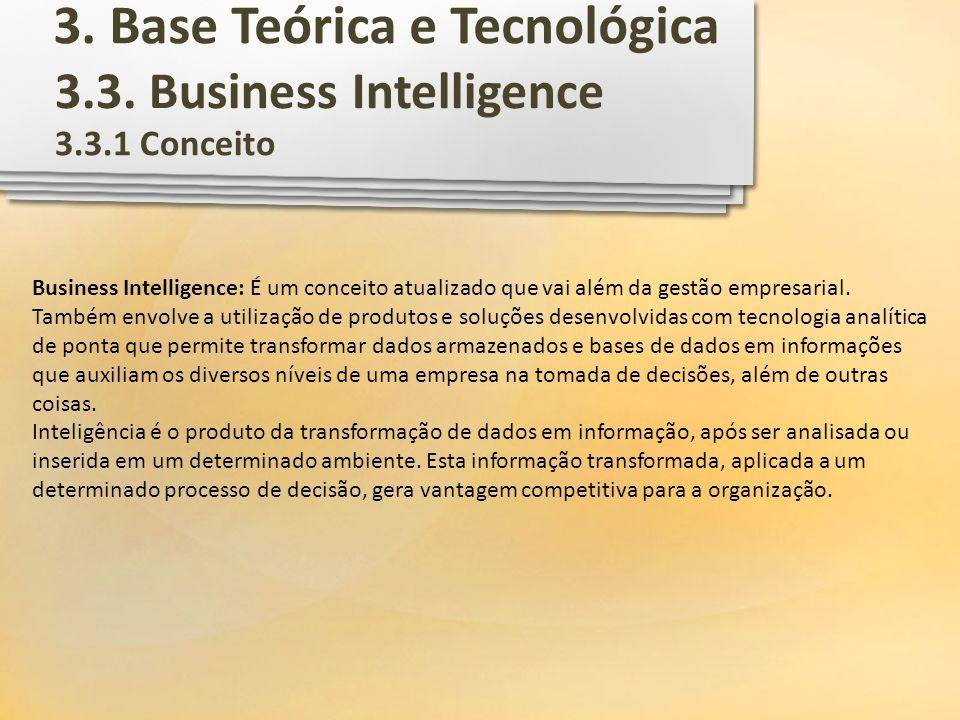 3.3. Business Intelligence Business Intelligence: É um conceito atualizado que vai além da gestão empresarial. Também envolve a utilização de produtos