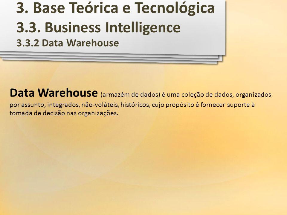 3.3. Business Intelligence 3.3.2 Data Warehouse Data Warehouse (armazém de dados) é uma coleção de dados, organizados por assunto, integrados, não-vol