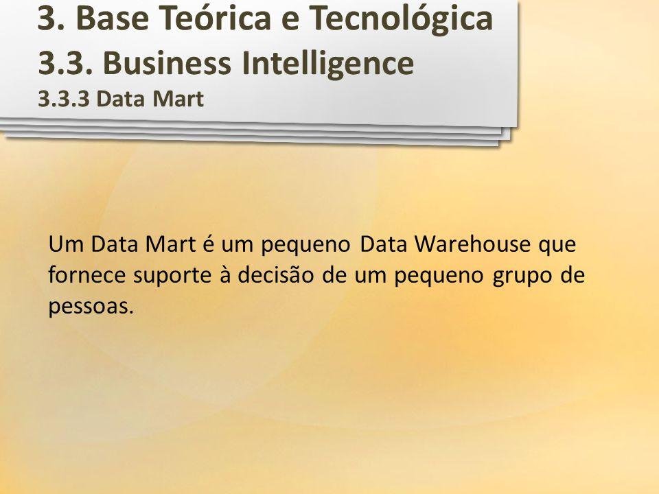 3.3. Business Intelligence 3.3.3 Data Mart Um Data Mart é um pequeno Data Warehouse que fornece suporte à decisão de um pequeno grupo de pessoas. 3. B